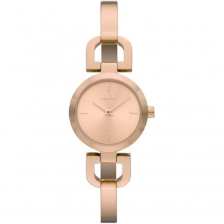 Ladies Rose Gold Half Bangle Watch
