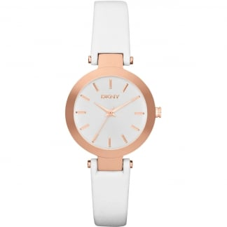 Ladies Rose PVD White Leather Stanhope Watch NY2405