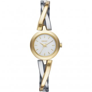 Ladies Two Tone Crosswalk Half Bangle Watch