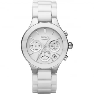 Ladies White Ceramic Chronograph Chambers Watch NY4912