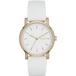 Ladies White Leather Gold Tone SoHo Watch