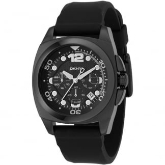 Men's Black Rubber Chronograph Watch NY1445