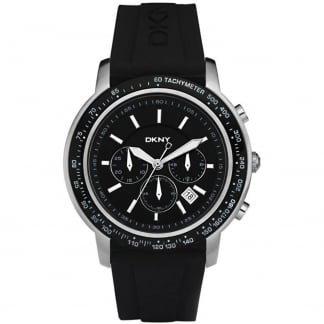 Men's Black Rubber Strap Chronograph Watch NY1478