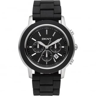 Men's Silver and Black Chronograph Watch NY1493