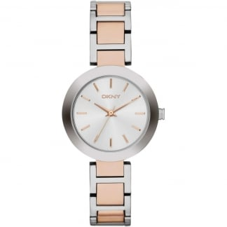 Silver & Rose Gold Ladies Stanhope Watch NY2402
