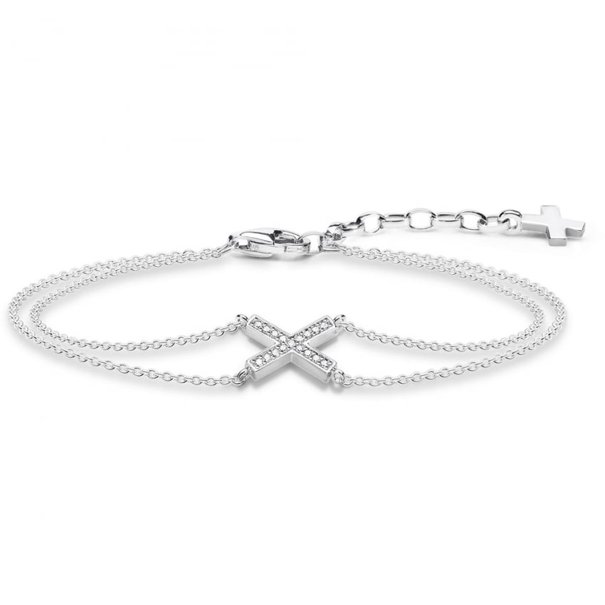 Thomas Sabo Double Wrap Cross Bracelet A1659-051-14-L19v
