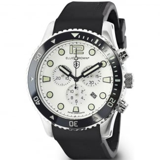 Men's Bloxworth White Dial Black Rubber Strap Watch
