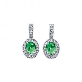 Emerald & Diamond 9ct White Gold Earrings 307216