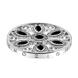 33mm Girasole Coin in Silver with Black Stones