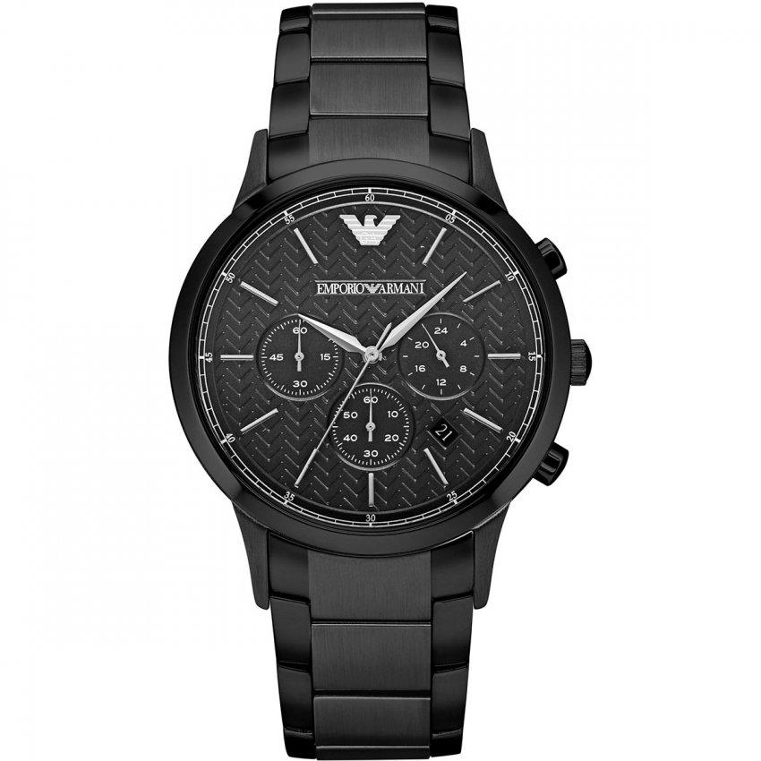 Emporio Armani Gent's Black Metal Chronograph Watch AR2485