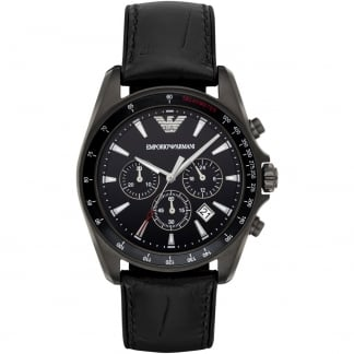 Gent's Croco Leather Strap Gunmetal Chronograph Watch AR6097