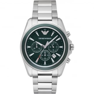 Gent's Green Chronograph Steel Bracelet Watch