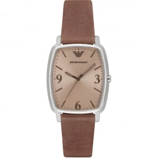 Gent's Slim Brown Strap Quartz Watch