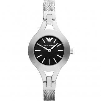 Ladies Black Dial Silver Mesh Bracelet Watch AR7328