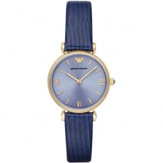 Ladies Blue Lizard-Embossed Strap Watch AR1875