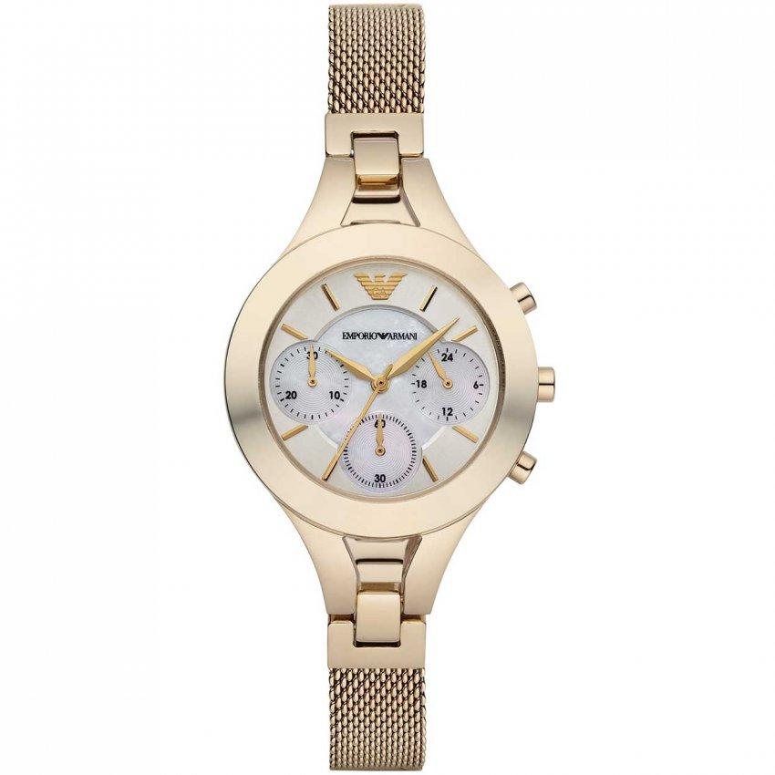 Emporio Armani Ladies Chronograph Gold Mesh Bracelet Watch AR7390