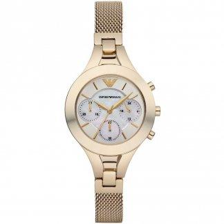 Ladies Chronograph Gold Mesh Bracelet Watch AR7390
