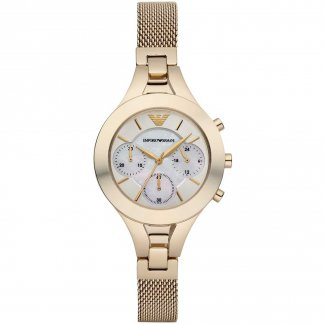 Ladies Chronograph Gold Mesh Bracelet Watch AR7390