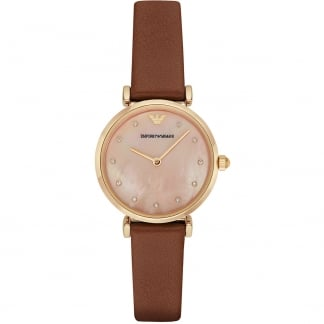 Ladies Crystal Set Coral MOP Dial T-Bar Watch