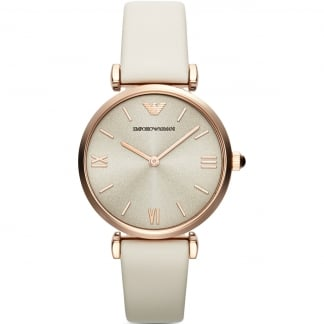 Ladies T-Bar White Leather Strap Watch AR1769
