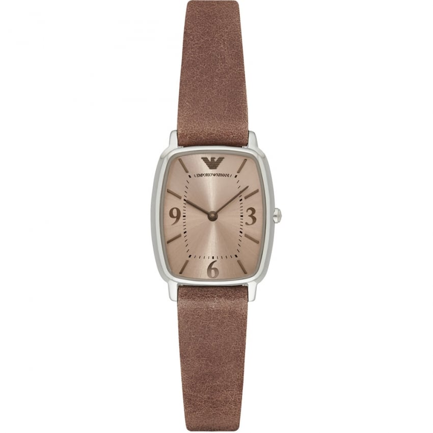 Emporio Armani Ladies Light Brown Leather Strap Watch AR2497