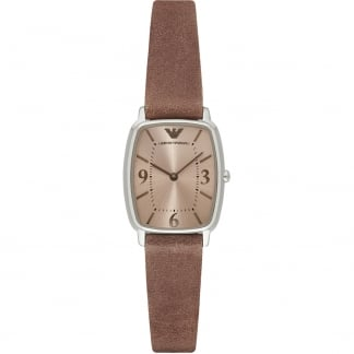 Ladies Light Brown Leather Strap Watch
