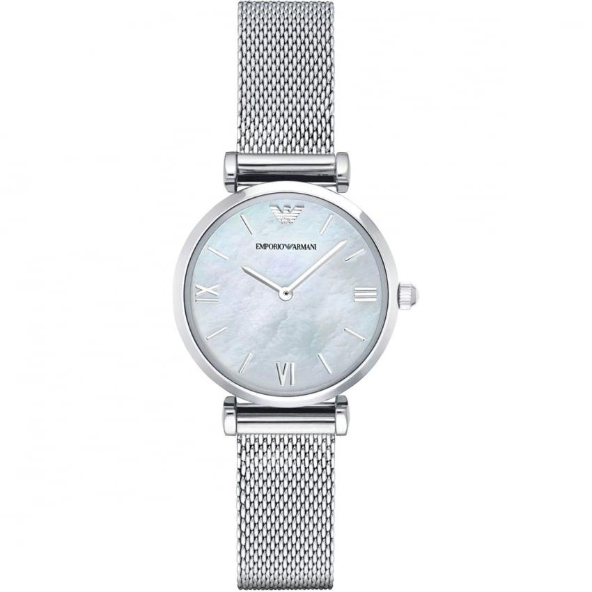 Emporio Armani Ladies Mother of Pearl Mesh Bracelet Watch AR1955