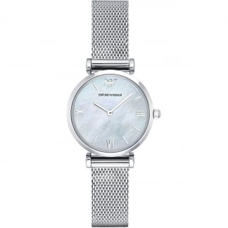 Ladies Mother of Pearl Mesh Bracelet Watch AR1955