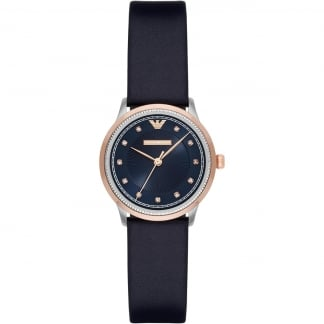 Ladies Navy Leather Rose Gold Tone Watch