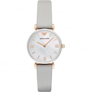 Ladies Retro Steel & Rose Grey Leather Strap Watch
