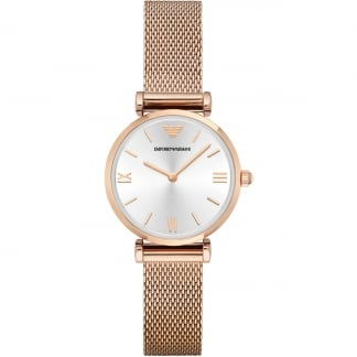 Ladies Rose Gold PVD Mesh Bracelet Watch AR1956