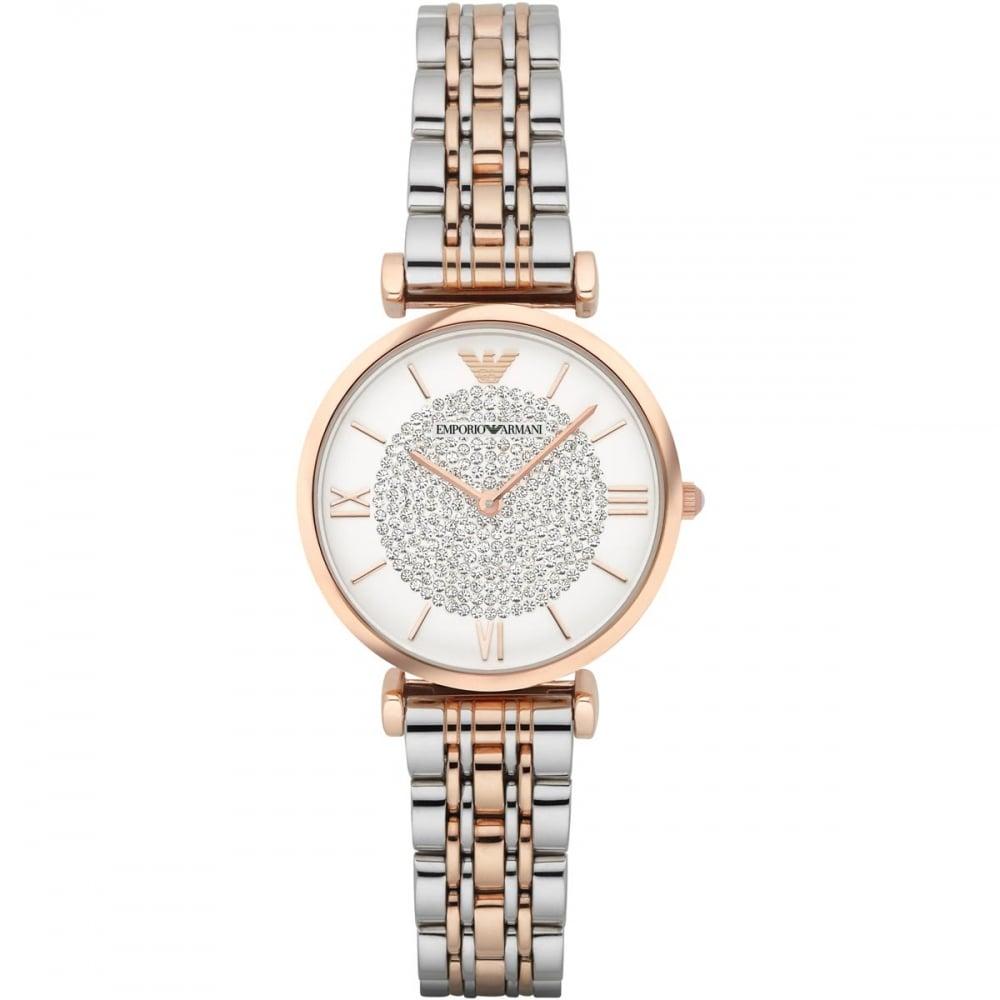 e0b1f2b2363 Emporio Armani Ladies Steel & Rose Stone Encrusted Dial Watch ...