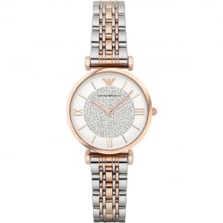 Ladies Steel & Rose Stone Encrusted Dial Watch AR1926