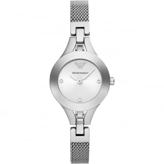 Ladies Stone Set Slim Mesh Bracelet Watch