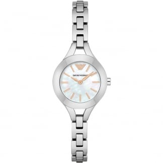 Ladies Stylish MOP Dial Silver Tone Bracelet Watch AR7425