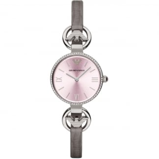 Ladies T-Bar Grey Lizard Strap Watch AR1884