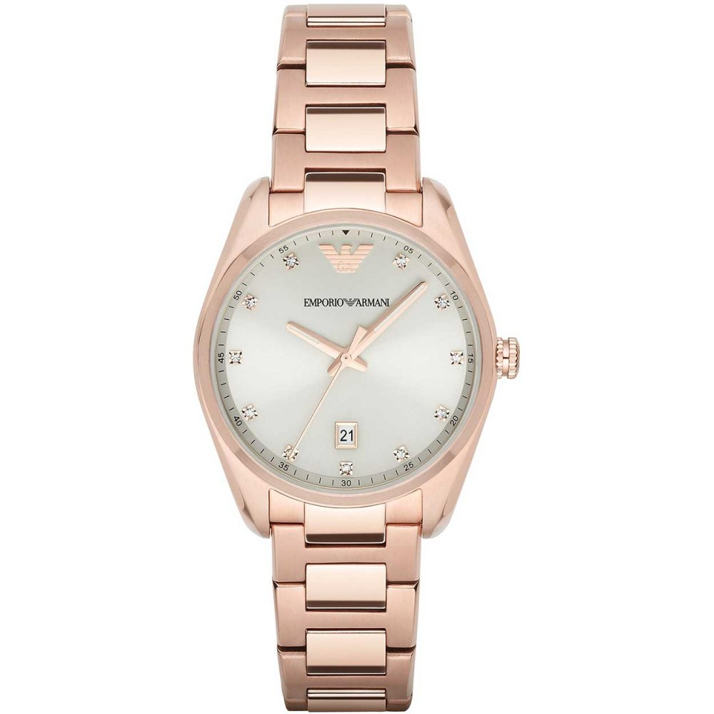 f8a03c43 Emporio Armani Ladies Rose Gold Plated Bracelet Watch