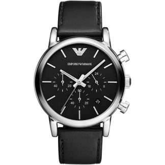 Men's Black Leather Chronograph Watch