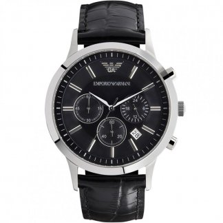 Men's Black Leather Strap Multifuntion Watch