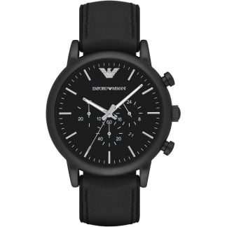 Men's Black PVD Leather Chronograph Watch