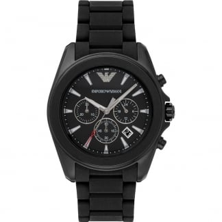Men's Black PVD Rubber Link Chronograph Watch