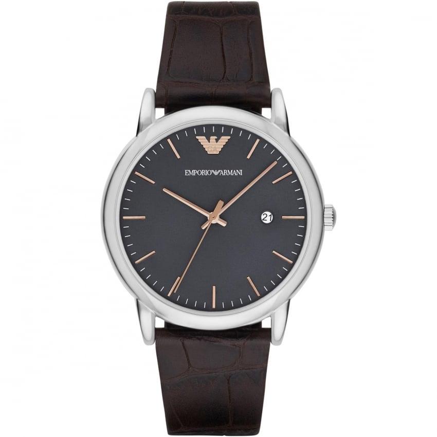 Emporio Armani Men's Classic Brown Leather Strap Watch AR1996