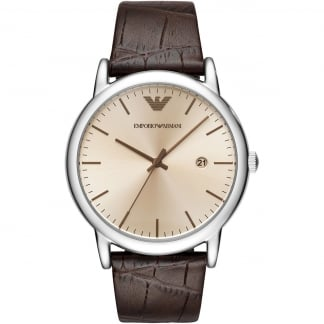 Men's Classic Dress Brown Leather Watch