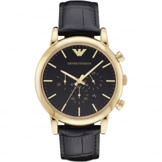 Men's Gold Plated Black Leather Chronograph Watch