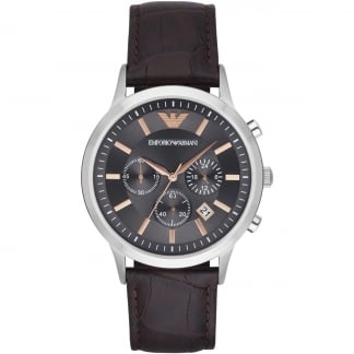 Men's Leather Grey Dial Chronograph Watch