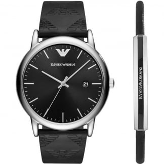 Men's Logo Embossed Watch & Bracelet Gift Set