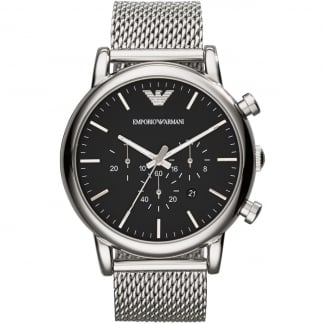 Men's Mesh Strap Black Chronograph Dial Watch AR1808