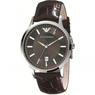 Men's Brown Leather Strap Watch
