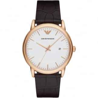 Men's Rose Gold Classic Brown Leather Quartz Watch AR2502