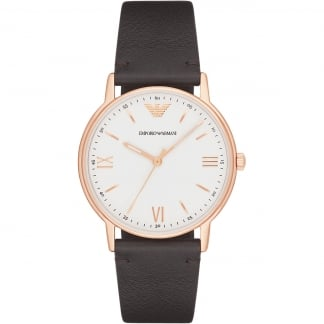 Mens Rose Gold Plated Brown Strap Watch